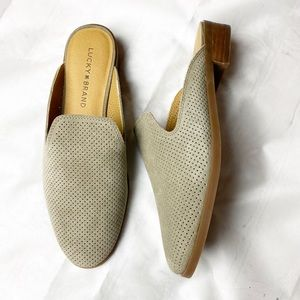 New Lucky Brand Taupe Slip On Mule Suede Slides 8